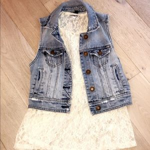 AE Denim Jacket and Express Lace Top Set